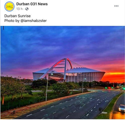 Sunrise over Moses Mabhida Stadium