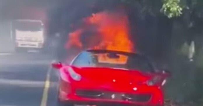 WATCH Red Hot Ferrari on Fire in Umhlanga, Durban