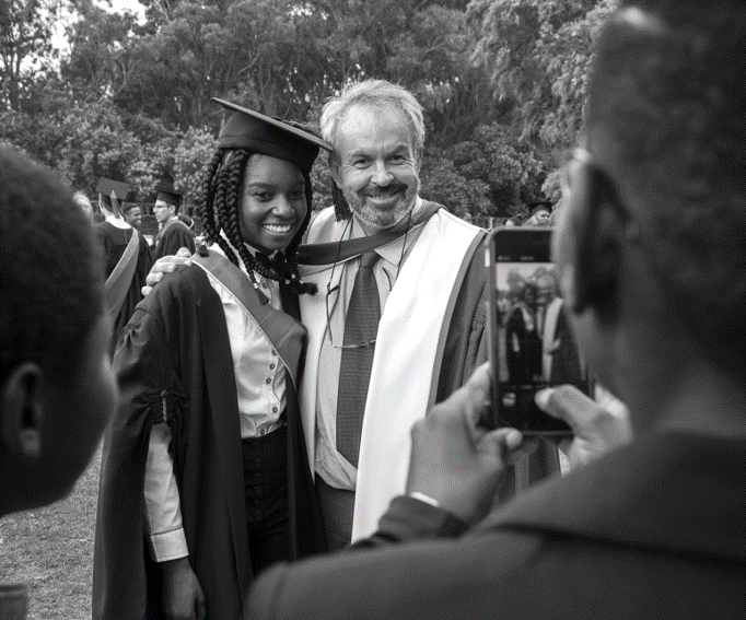Photo with Prof Greyling on my graduation, by Leonette Bower