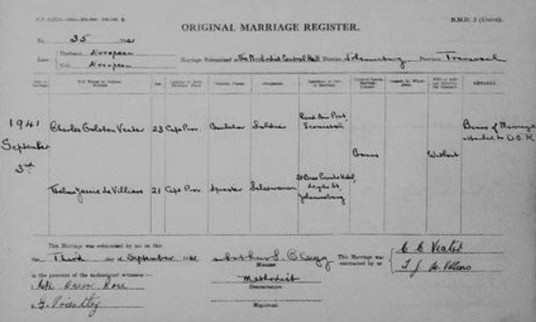 Denis sister marriage certificate