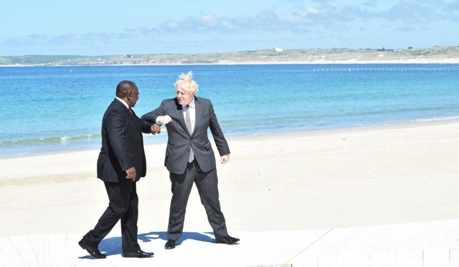 G7 Ramaphosa Johnson beach Cornwall