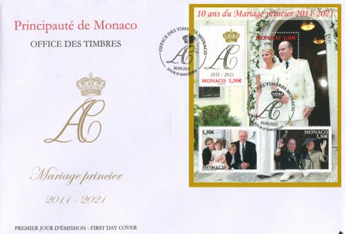 Monaco-royal-stamps wedding anniversary