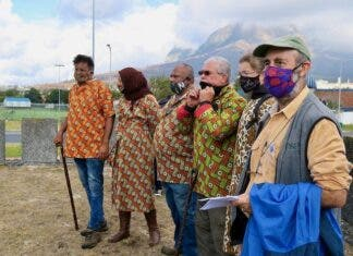 Professor Leslie London, seen here at the front of a group of civic and traditional leaders opposing the River Club development, was attacked in an email apparently sent by the First Nations Collective. Photo: Steve Kretzmann