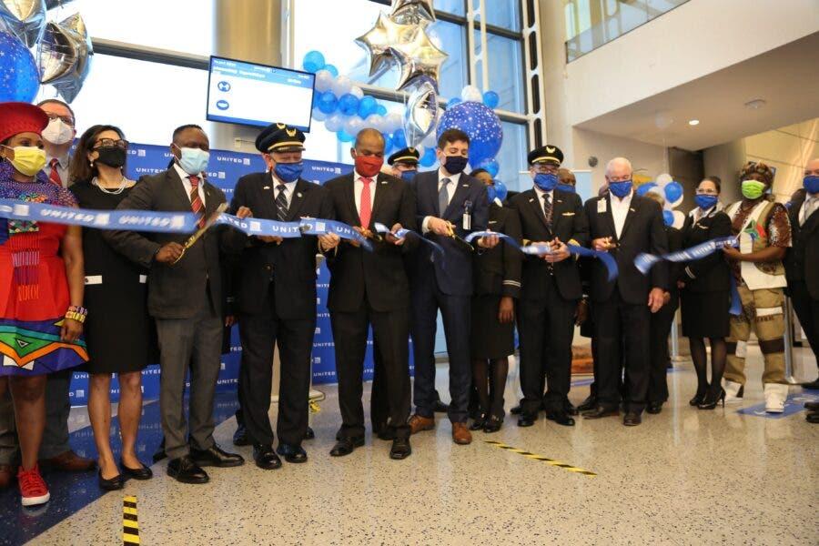 inaugural United Airlines flight New York Joburg