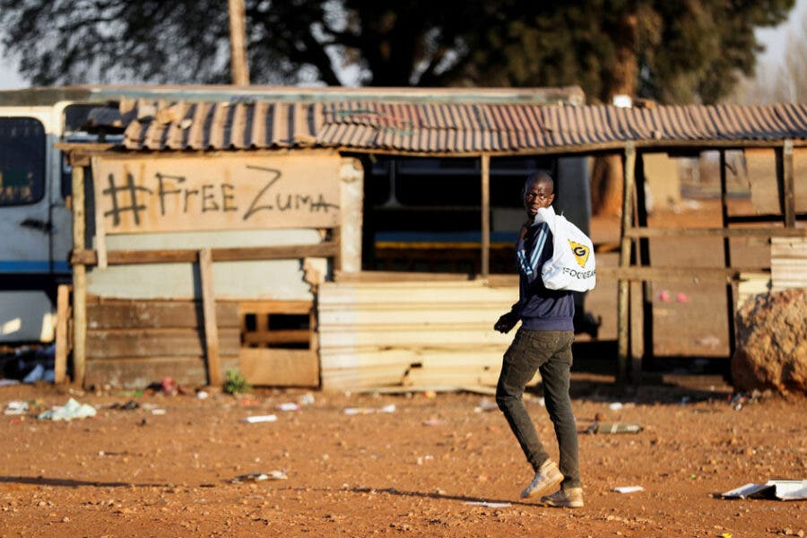 Unrest linked to the jailing of former South African President Zuma, in Vosloorus