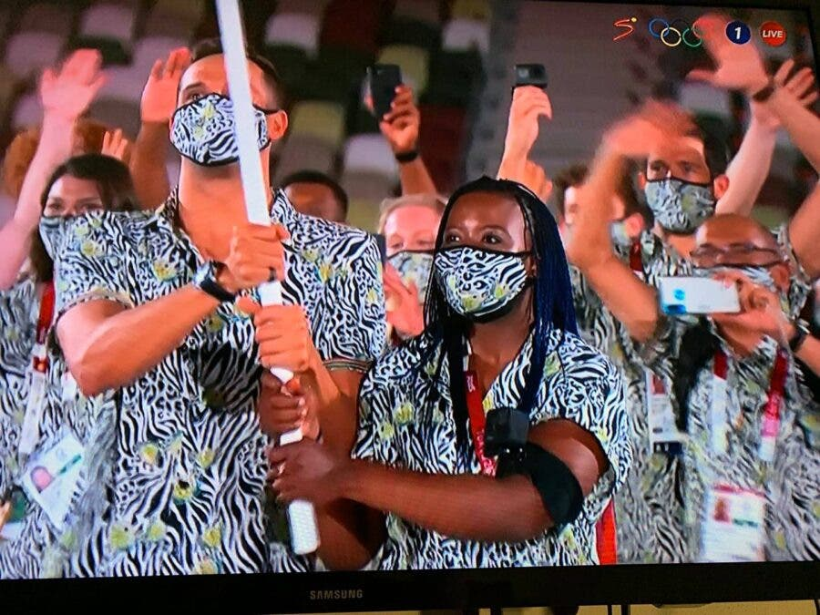 Olympic outfits flag bearers South Africa