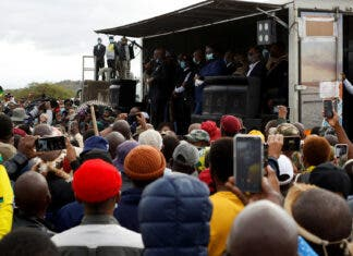 Former South African president Jacob Zuma speaks to supporters who gathered at his home in Nkandla Former South African president Jacob Zuma speaks to supporters who gathered at his home, as South African court agreed to hear his challenge to a 15-month jail term for failing to attend a corruption hearing, in Nkandla, South Africa, July 4, 2021. REUTERS/Rogan Ward