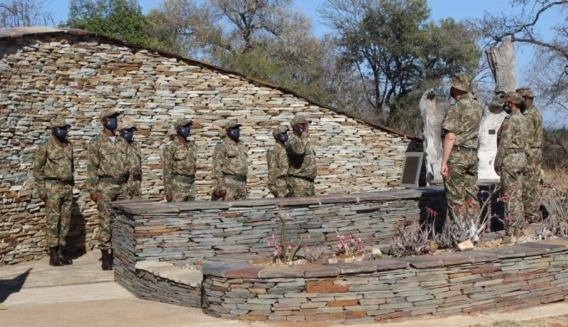 Rangers salute to the commanders i.e. KNP Managing Executive – Gareth Coleman, KNP Head Ranger – Catherine Dreyer and Skukuza Section Ranger – Kally Ubisi