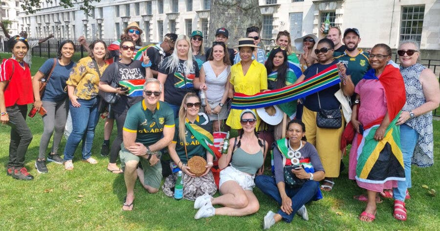 South Africans in London Sing SA Anthem at Peaceful Protest