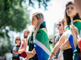 South Africans in London protest