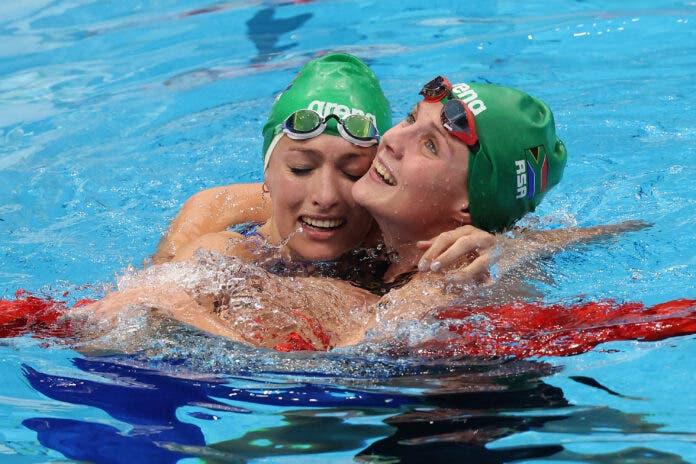 Tatjana Schoenmaker and South African Kaylene Corbett