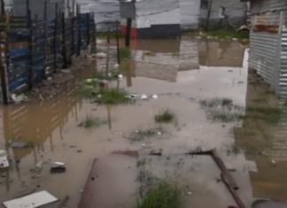 flooded Cape Town shacks