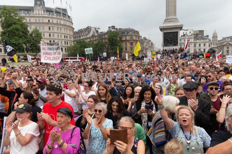 'Worldwide Freedom Rally' anti-vaccines protest staged at Trafalgar Square, London