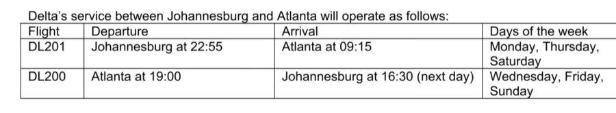 Johannesburg Atlanta flights schedule