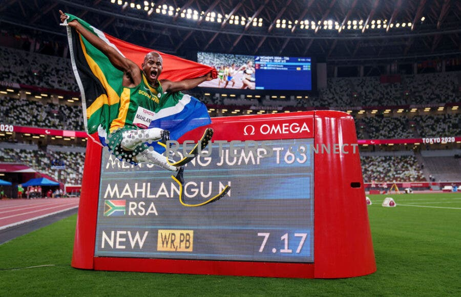 Gold Medallist Ntando Mahlangu of South Africa Paralympic gold world record breaking