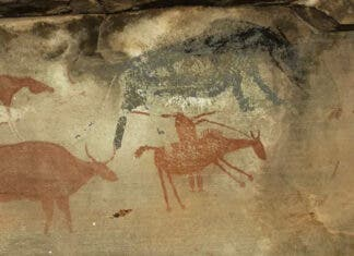 Painting of a raider on horseback (bottom right) with a musket and domestic stock. A 'rain-animal' (top right) was likely summoned to wash away the raiders' tracks. Courtesy of Sam Challis and Brent Sinclair-Thomson