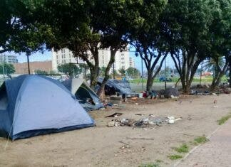 The City of Cape Town has defended its demolition of a tent camp on 23 August that had been set up by homeless people near the Green Point Tennis Club. Photo: Marecia Damons