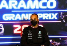 Formula One F1 - United States Grand Prix - Circuit of the Americas, Austin, Texas, U.S. - October 21, 2021 Mercedes' Lewis Hamilton during the press conference FIA/Handout via REUTERS