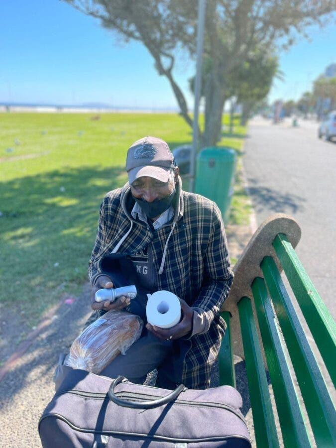 Homeless man bench Capitec