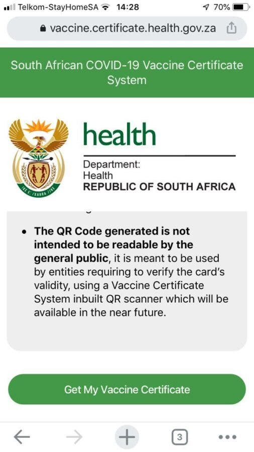 Digital COVID-19 Vaccination Certificates in South Africa