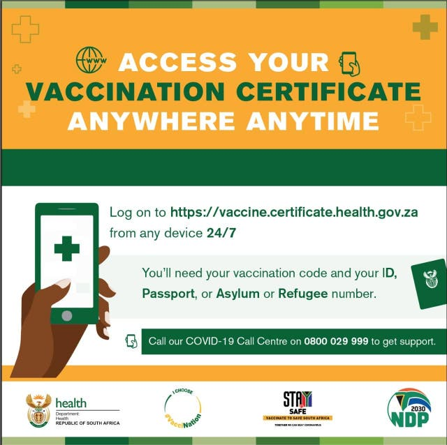 south african vaccination certiicate
